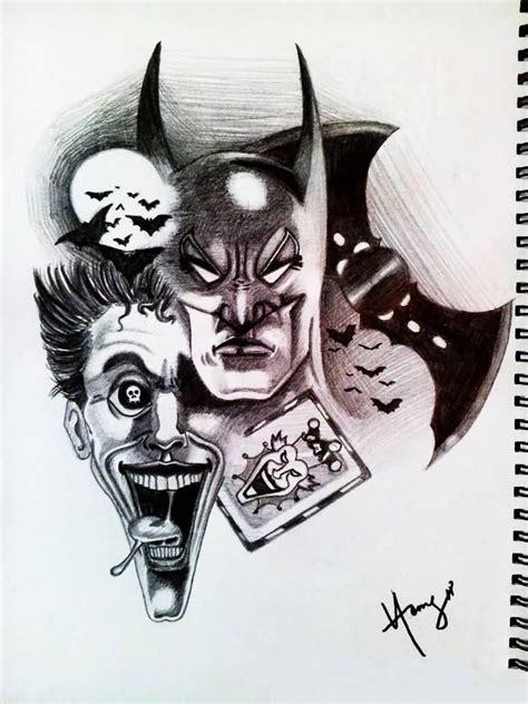sketch of tattoo art joker batman and joker drawing batman joker tattoo design idea