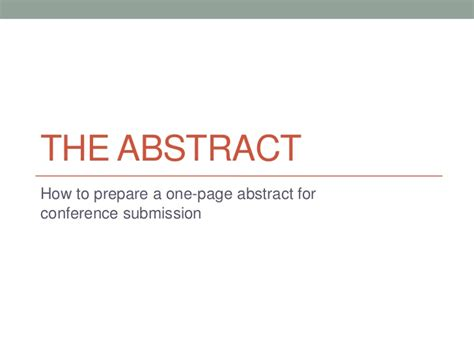 How To Do Abstract How To Write A One Page Abstract