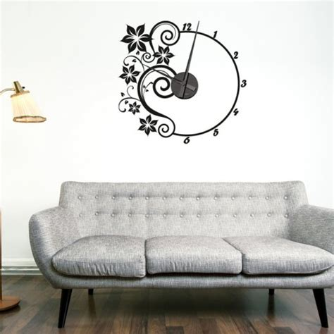 Wall Sticker Clocks flower wall sticker clock wall chimp