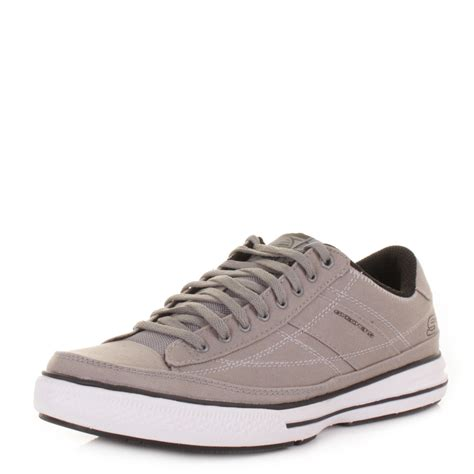 grey sneakers mens mens skechers arcade chat grey casual lace up trainers