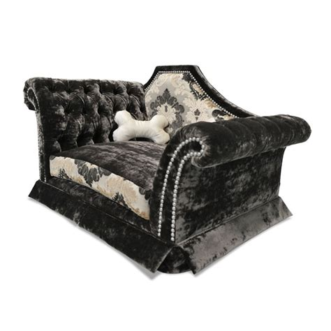 dog chaise lounge bed dog chaise lounge bed dog in bed with human top view stock