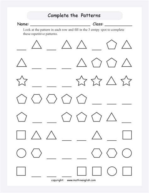 patterns with shapes and pictures worksheets complete each pattern by drawing the missing 3 shapes in