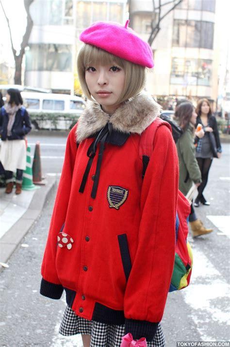 cute japanese bob hairstyle pink beret  harajuku