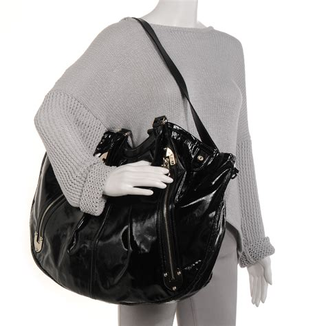 Mcqueen Patent Hobo Bag by Mcqueen Patent Leather Hobo Black 64023