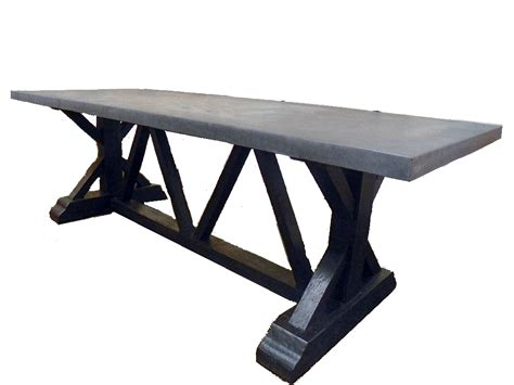 Concrete Table Base by Concrete And Reclaimed Trestle Base Dining Table Mecox