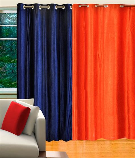 blue and orange curtains home candy set of 2 door eyelet curtains solid blue orange