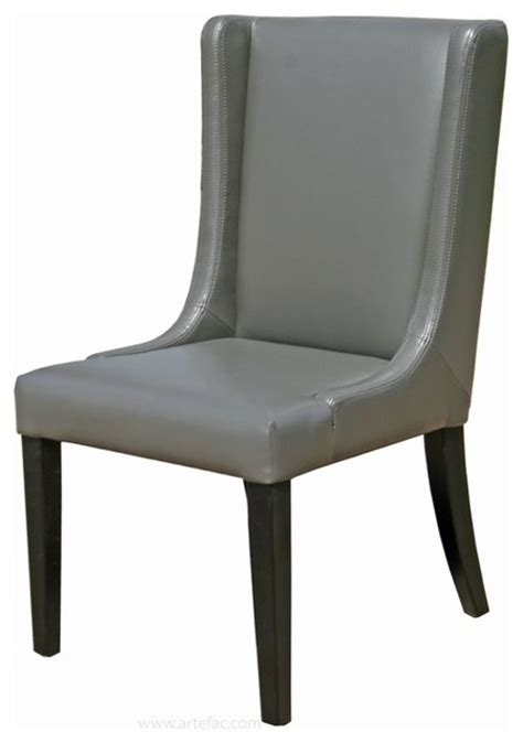 Gray Leather Dining Room Chairs by Wing Back Leather Dining Room Chair In Grey Brown And