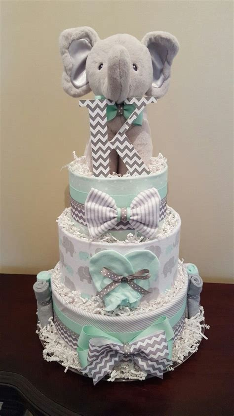 Cake For Baby Shower Centerpiece by Mint Green And Grey Elephant Cake Baby Shower
