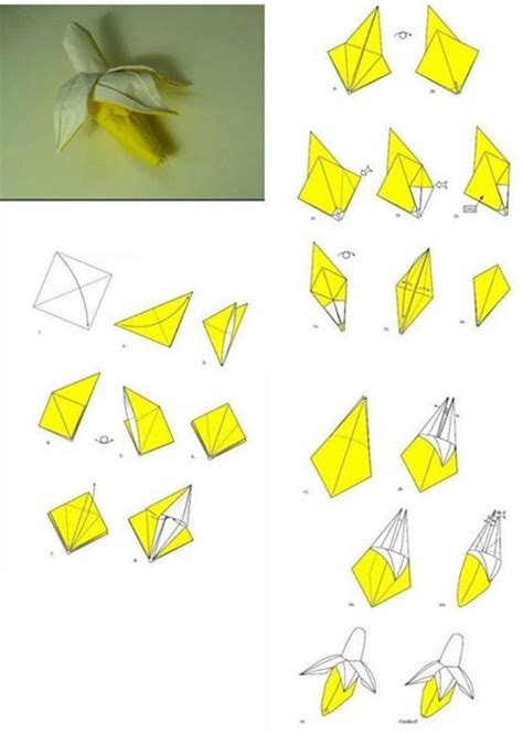 fold origami paper craft banana step by step diy tutorial