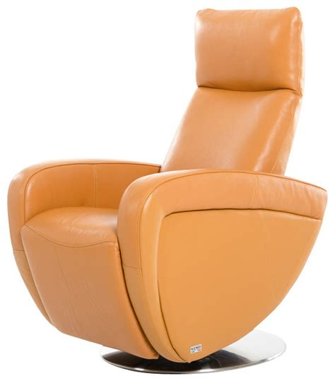 modern leather recliner chairs divani casa maple modern orange italian leather reclining