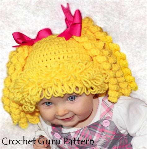 crochet pattern for cabbage patch kid hat crochet cabbage patch kid inspired hat pattern 6 sizes