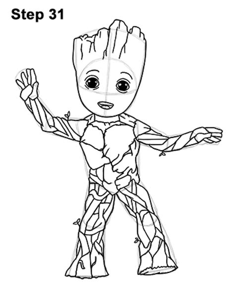 coloring page baby groot marvel comics