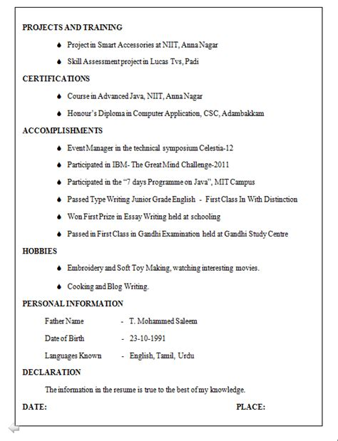 sle resume format for cse freshers be cse resume format for freshers