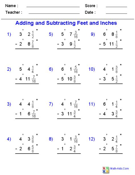 math addition and subtraction worksheets printable