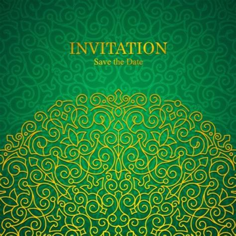 invitation design vector free download orante green wedding invitation cards design vector 01