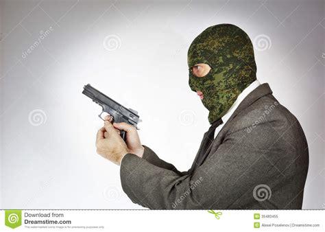 killer gun killer wearing mask with a gun stock image image of