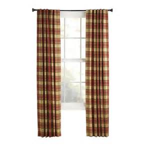 Lowes Kitchen Curtains Shop Style Selections Bernard 84 In L Plaid Back Tab Curtain Panel At Lowes
