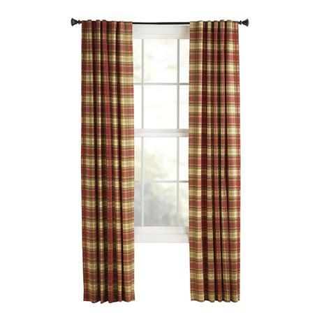 shop curtains by length shop style selections bernard 84 in red plaid polyester