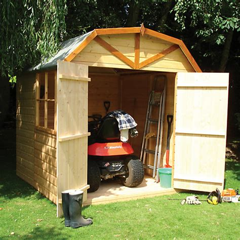 wickes barn curved roof double door garden shed    ft
