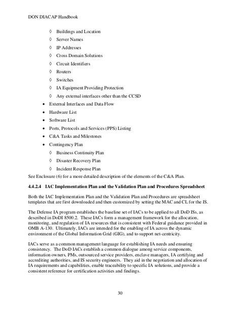 diacap implementation plan template dod iam