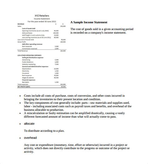 forecasted income statement template sle contribution income statement 7 free documents