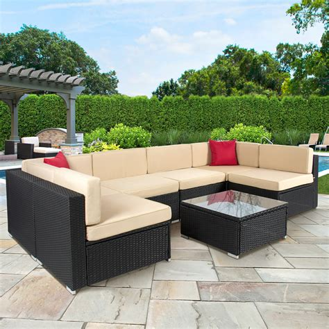 outdoor wicker furniture best outdoor patio furniture awesome 7pc outdoor patio garden wicker furniture rattan sofa set