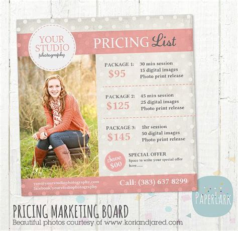 free photography pricing guide template photography pricing packages marketing board photoshop