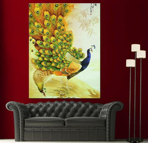 paintings home decor japanese peacock painting canvas print wall photo