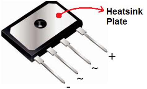 diode bridge packages isolation what is the electrical connection of heatsink plate of pb bridge rectifier