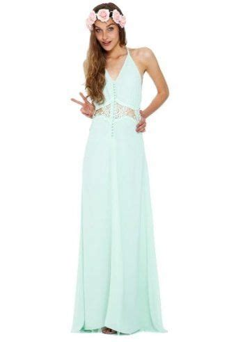 Jarlo Siobhan Cami Strap Mint Green Maxi Dress With Lace