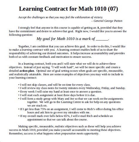 learning agreement template learning contract template 14 free documents