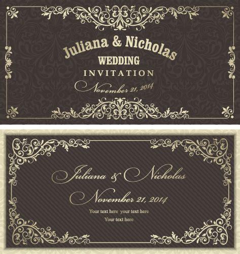 Wedding Invitation Card Pattern by Decorative Pattern Wedding Invitation Cards Vector Set