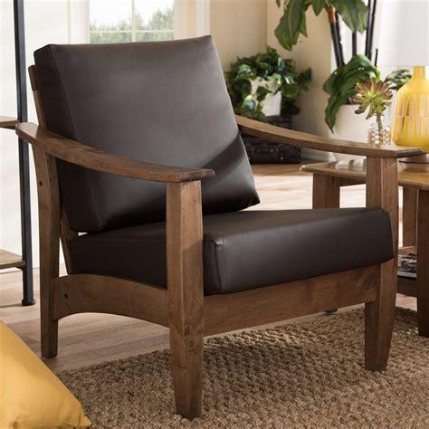 baxton studio phanessa mid century brown faux leather
