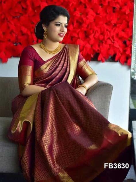 alluring maroon colored soft silk saree fb bridal