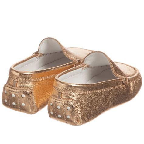 moccasin sandals tod s gold leather baby moccasin shoes childrensalon