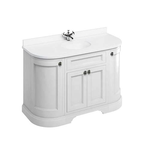 Curved Vanity Unit by Burlington Freestanding 134 Curved Vanity Unit With Doors