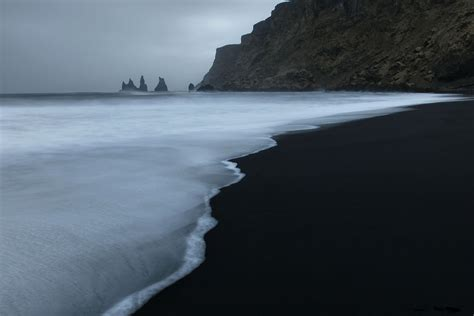 volcanic beach vik seascape waves and black volcanic sand beautiful