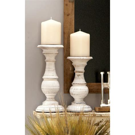White Candle Holders by 23 In X 6 In Rustic Mango Wood Candle Holder In