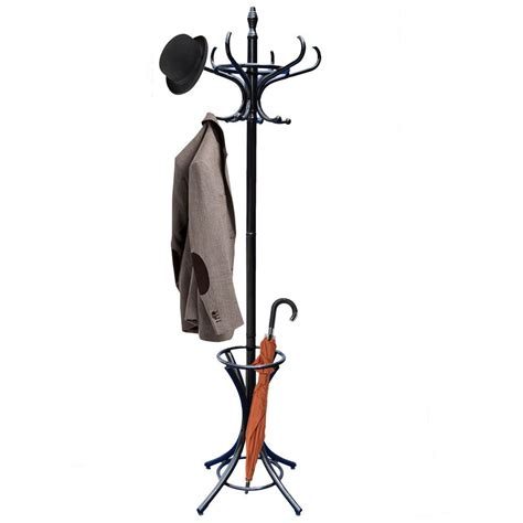 Standing Hat Rack by Coat Stand Black Hook Coat Hat Jacket Umbrella Standing Wood Metal Hanger Rack