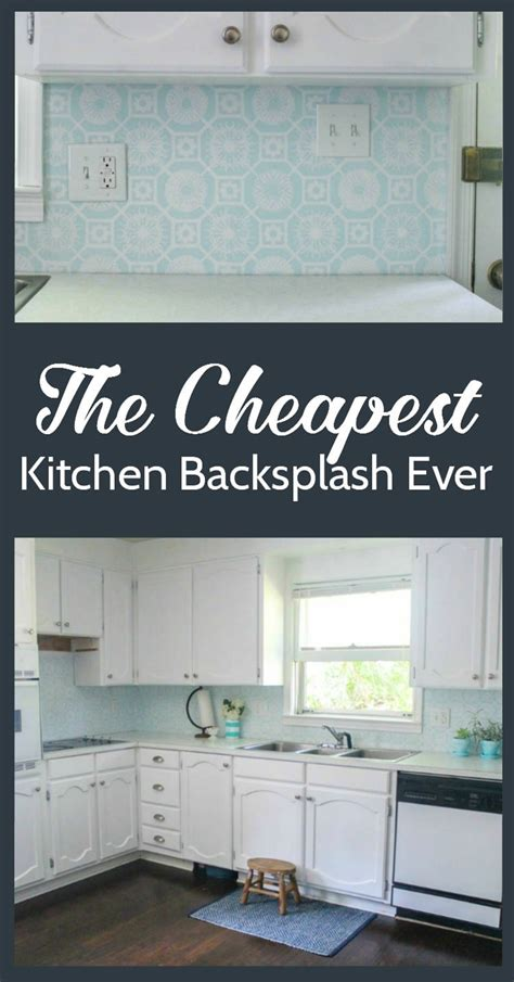 budget kitchen backsplash the cheapest diy backsplash lovely etc