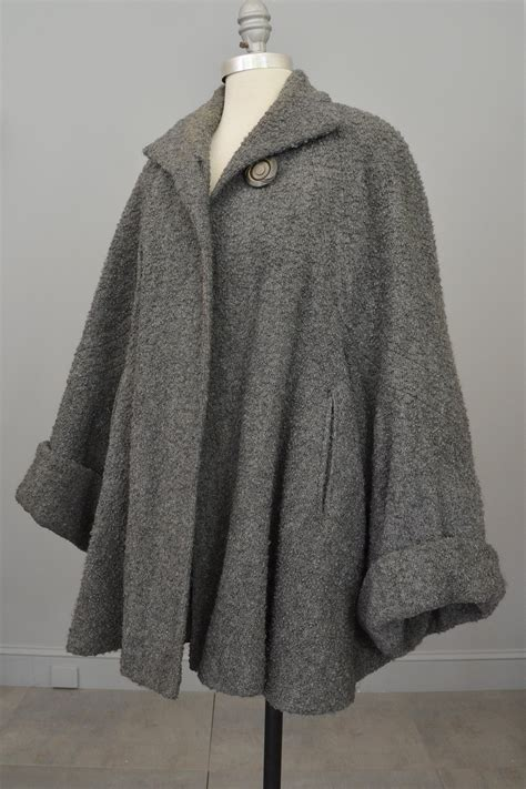 grey swing coat 1940s grey boucle swing coat with cuffed bell sleeves
