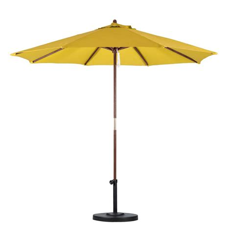 Yellow Patio Umbrella California Umbrella 9 Ft Wood Pulley Open Patio Umbrella In Yellow Polyester Sow908 P57 The