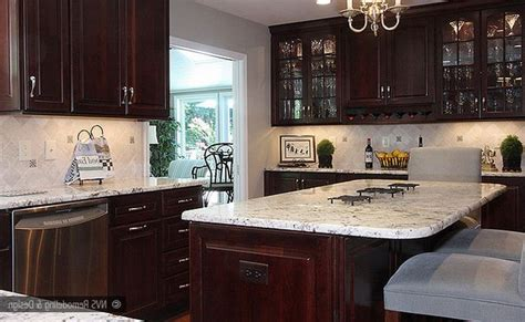 Cherry Cabinets With White Countertops by Colonial White Granite Countertop And Island Top With