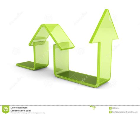green house agency glossy green house icon with rising arrow real estate concept stock illustration