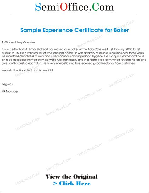 Work Experience Letter Tips work experience letter format to whom it may concern www
