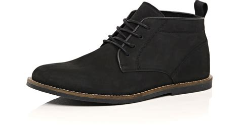 river island black nubuck leather desert boots in black