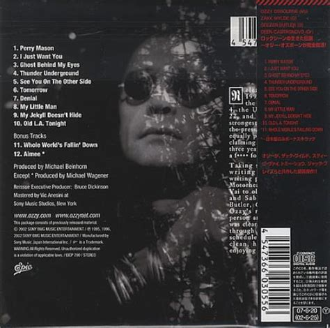 Cd Ozzy Osbourne Ozzmosis ozzy osbourne ozzmosis japanese cd album cdlp 401386