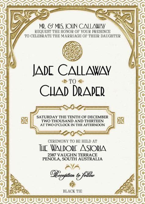 printable art deco wedding invitations gatsby wedding invitation printable white and gold art deco