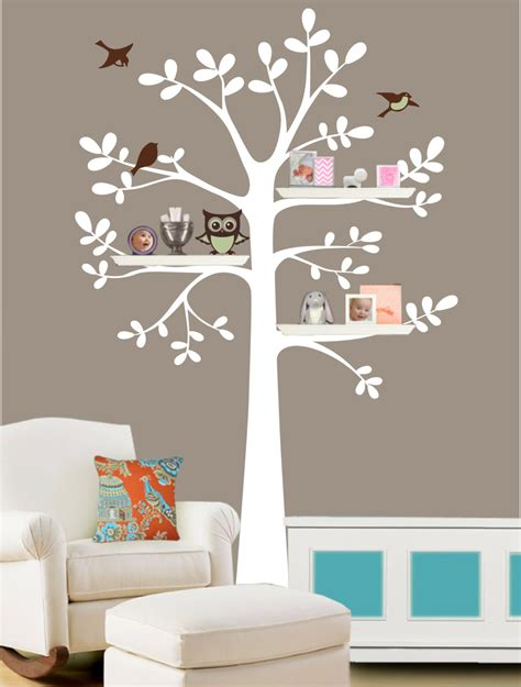 tree wall sticker with shelves family tree wall decal shelf tree decal tree decal