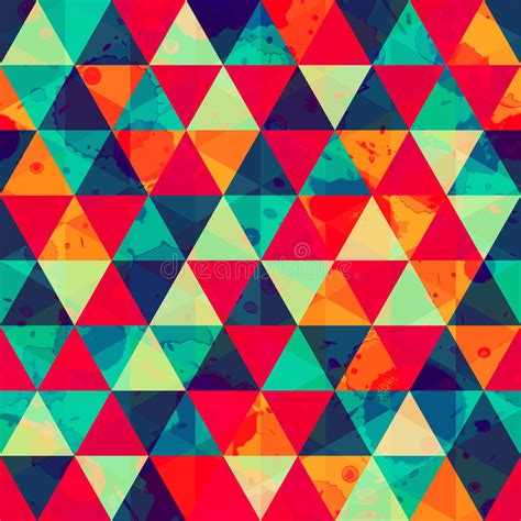 geometric pattern cdr colored triangle seamless pattern with blot effect stock
